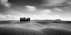 Cypress Hill Panorama, Tuscany, black and white fine art photography, landscapes