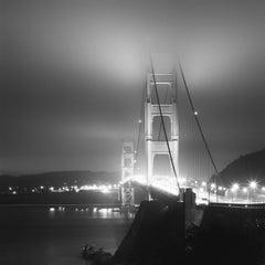 Golden Gate Night, California, USA, black and white art photography, cityscape