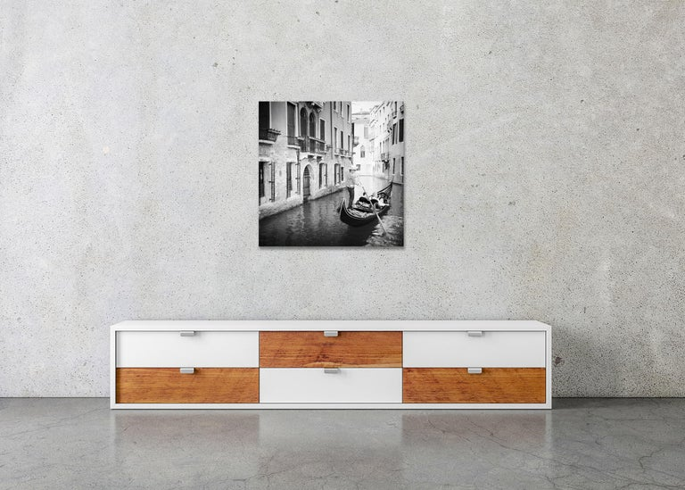 Gondoliere, Venice, Italy, fine art black and white photography, waterscapes For Sale 2