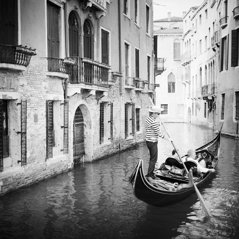 Gerald Berghammer Landscape Photograph - Gondoliere, Venice, Italy, fine art black and white photography, waterscapes