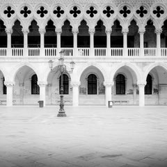 Gothic Facade of Doges Palace, Venice, black and white photography, cityscape
