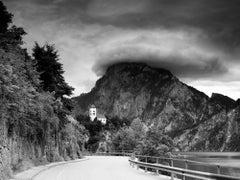 Johannesbergkapelle, mountain chapel, lake, black & white photography, landscape