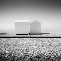 Normandy Beach Huts, France, black and white fine art landscape photography