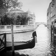 Romance in Venice, Gondoliere fine art black and white photography, landscapes