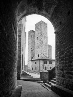 San Gimignano, Tuscany, Italy, black and white fine art architecture photography