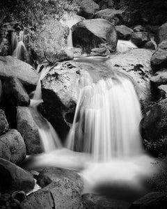 Stony Mountain Stream, California, USA, black and white photography, landscape