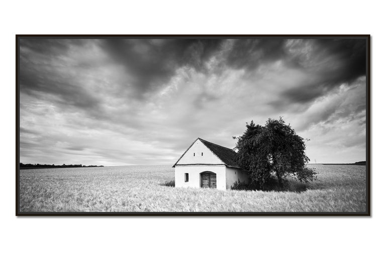 Wine Press House Panorama, Farmland, black and white photography landscape - Photograph by Gerald Berghammer