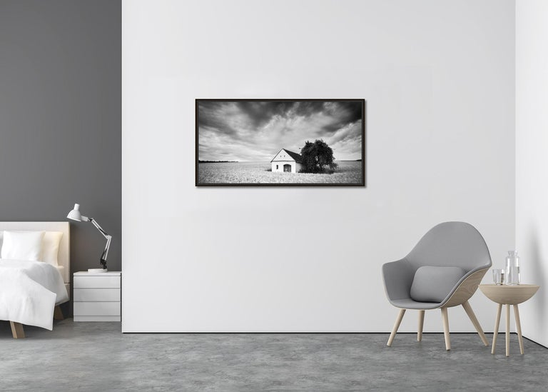 Wine Press House Panorama, Farmland, black and white photography landscape - Contemporary Photograph by Gerald Berghammer