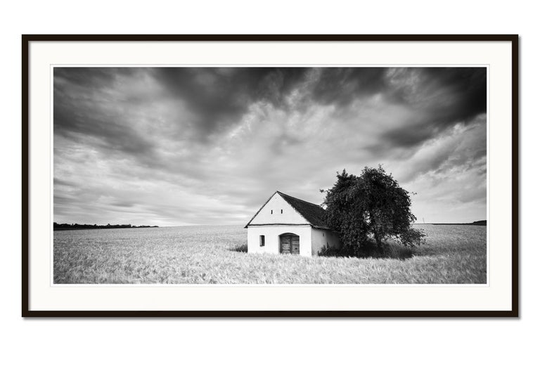 Wine Press House Panorama, Farmland, black and white photography landscape - Gray Black and White Photograph by Gerald Berghammer