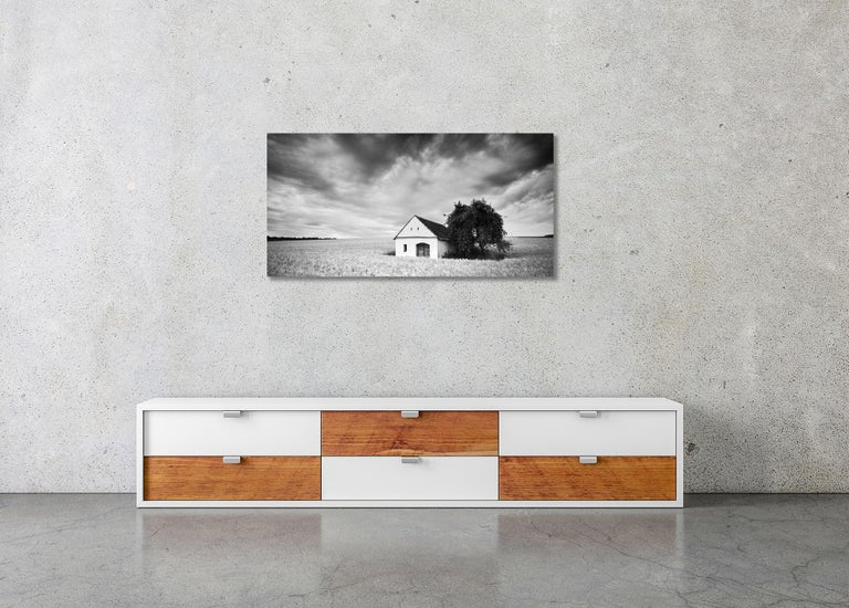 Wine Press House Panorama, Farmland, black and white photography landscape For Sale 2