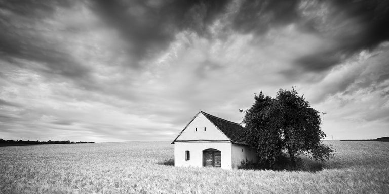 Gerald Berghammer Black and White Photograph - Wine Press House Panorama, Farmland, black and white photography landscape