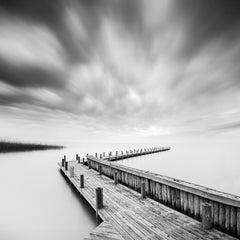 Wood Pier, Lake, Storm, Austria, black and white fine art photography landscape