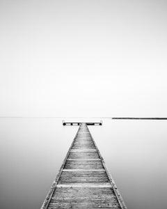 Wooden Pier on Lake, Austria, black and white fine art photography, landscape