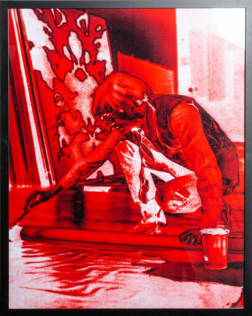Portrait of Andy Warhol - Red print-toning by G. Bruneau - 1980s