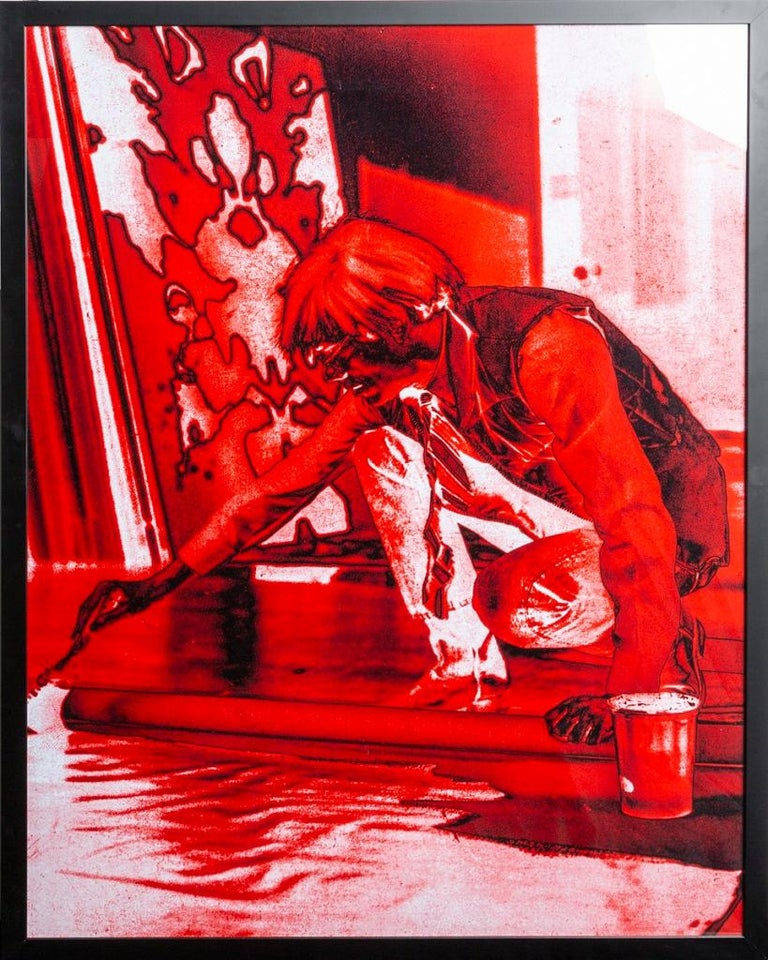 Gerald Bruneau Figurative Photograph - Portrait of Andy Warhol - Red print-toning by G. Bruneau - 1980s