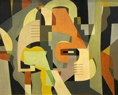 """Abstract"" 1930s Mid-Century Non-Objective WPA Geometric Color Field Abstraction"