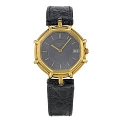 Gerald Genta Black Dial Octagonal 18 Karat Gold Quartz Ladies Watch g2850.7