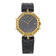 Gerald Genta Black Dial Octagonal 18K Yellow Gold Quartz Ladies Watch g2850.7