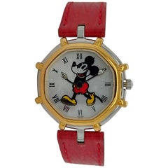 Gerald Genta Mickey Mouse Quartz Watch Red Leather Strap
