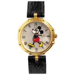 Gerald Genta Yellow Gold and Pearl Dial Mickey Mouse Wristwatch