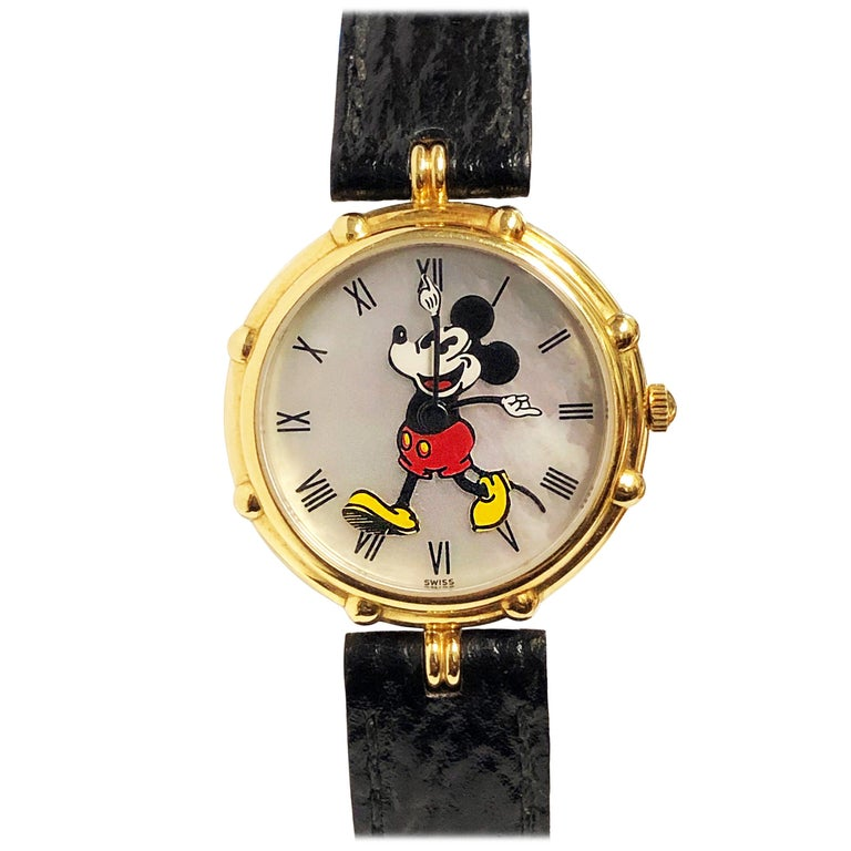 Gerald Genta Yellow Gold and Pearl Dial Mickey Mouse Wristwatch For Sale