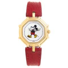 Gerald Genta Ladies Yellow Gold Mickey Mouse Quartz Wristwatch