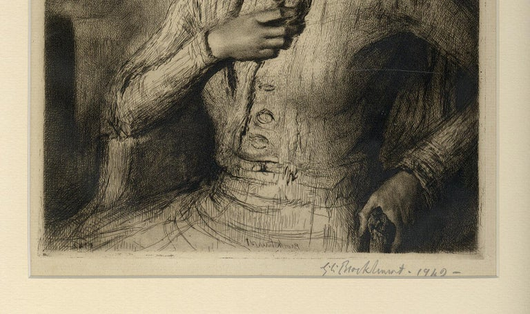 Jeunesse Doree (the gilded youth Kathleen Nancy Woodward / artist's second wife) - American Modern Print by Gerald Leslie Brockhurst