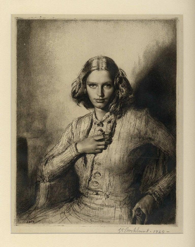 Jeunesse Doree (the gilded youth Kathleen Nancy Woodward / artist's second wife) - Black Portrait Print by Gerald Leslie Brockhurst