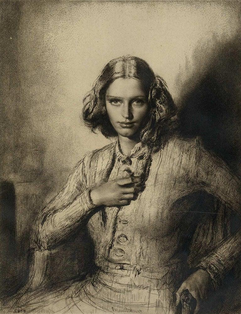 Gerald Leslie Brockhurst Portrait Print - Jeunesse Doree (the gilded youth Kathleen Nancy Woodward / artist's second wife)