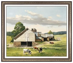 Gerald Lubeck Original Oil Painting On Board Signed Landscape Illustration Art