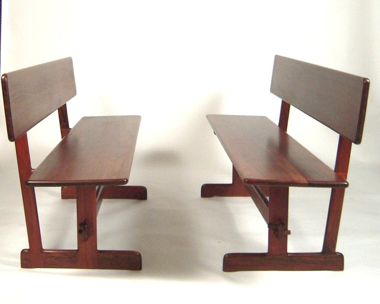 Mid-Century Modern Gerald McCabe Dining Walnut Table with Two Benches For Sale
