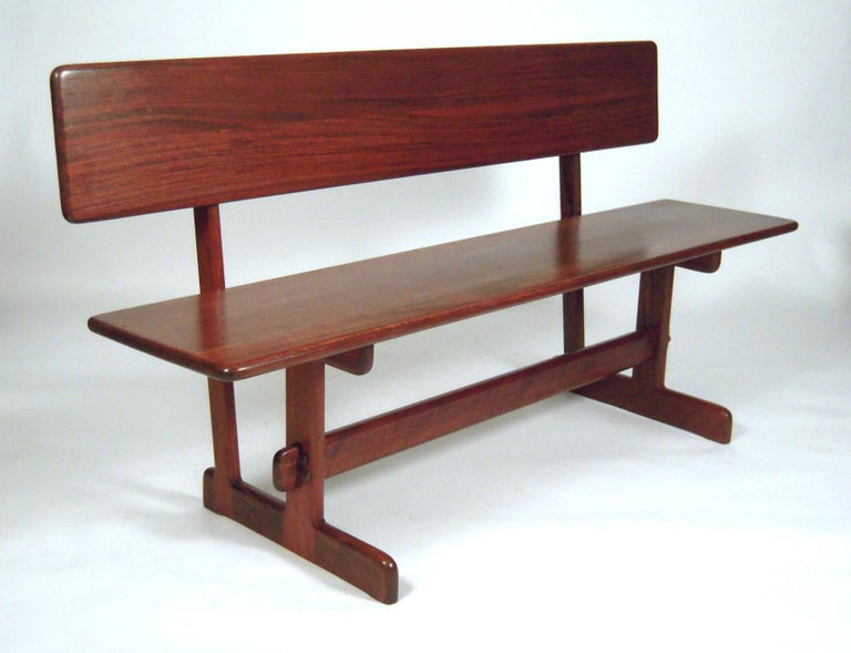 American Gerald McCabe Dining Walnut Table with Two Benches For Sale