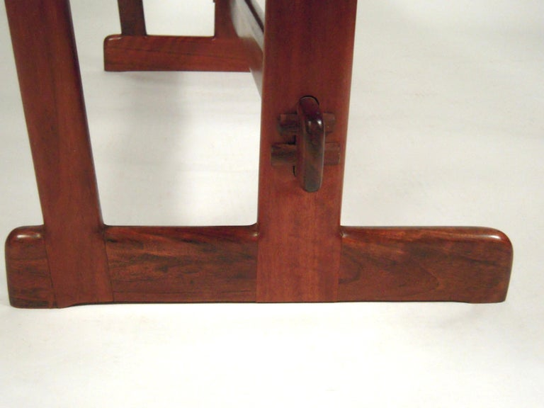 Gerald McCabe Dining Walnut Table with Two Benches For Sale 1
