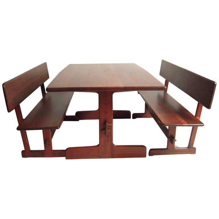 Gerald McCabe Dining Walnut Table with Two Benches For Sale