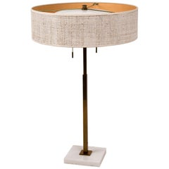 Stiffel Table Lamp by Gerald Thurston Brass & Marble with Lacquered Cane Shade