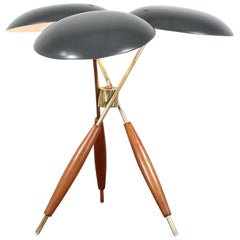 Gerald Thurston Brass Tripod Table Lamp for Lightolier Co.