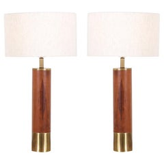 Gerald Thurston Brass and Walnut Table Lamps for Lightolier Co.