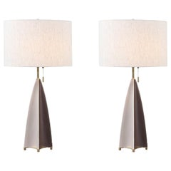 "Gerald Thurston ""Fin"" Porcelain Table Lamps by Lightolier"