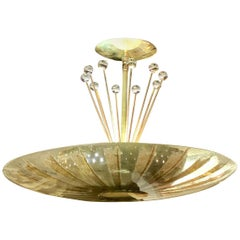 Gerald Thurston for Lightolier Brass, Glass and Crystal Chandelier