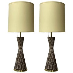 Gerald Thurston for Lightolier Ceramic Porcelain and Brass Honeycomb Lamps, Pair