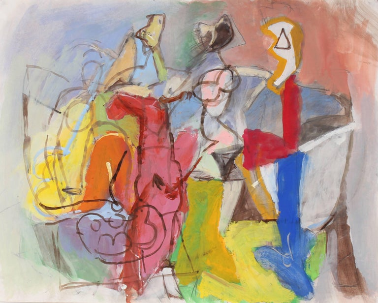 Bright Abstracted Figures in Gouache, Circa 1970s