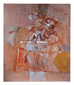 Large Abstract Oil Painting in Pink, Circa 1970