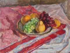 Tabletop Still Life with Fruit, Oil Painting, 20th Century