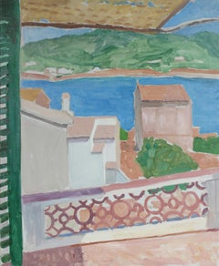 View Through a Window out at the Sea and Mountains Still Life in Oil