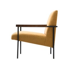 Geraldo de Barros Iron Lounge Chair with Yellow Upholstery