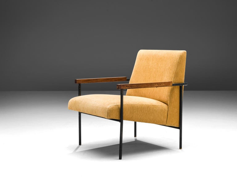 Geraldo de Barros for Unilabor, armchair, fabric, iron, wood, Brazil, 1955  This lounge chair is by designed by the Brazilian modernist designer Geraldo de Barros. The chair features the profound used materials by Unilabor, an iron frame in