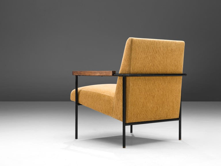 Brazilian Geraldo de Barros Lounge Chair in Iron with Yellow Upholstery For Sale