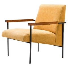 Geraldo de Barros Lounge Chair in Iron with Yellow Upholstery