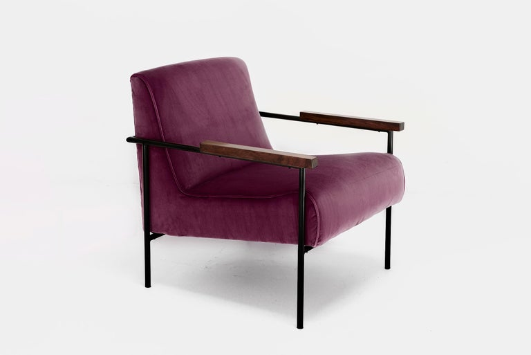 Geraldo de Barros  Pair of armchairs Manufactured by Unilabor Brasil, 1955 Iron, jacaranda, upholstery From the archives of Side Gallery, Barcelona   Purple Upholstery   Measurements 64 cm x 70 cm x 77h cm 24,8 in x 27,95 in x 30,31h