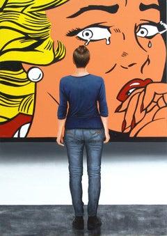 Crying Girl, Painting, Acrylic on Wood Panel